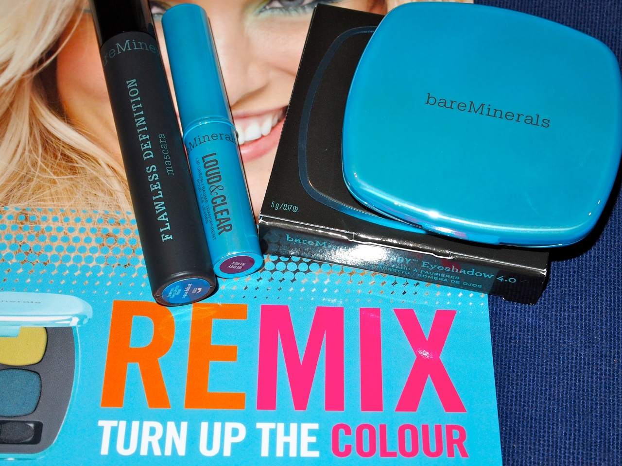 * c/o bare minerals remix collection: flawless definition mascara in aqua blast, loud & clear lip sheer in berry remix, ready eyeshadow in the next big thing, ready blush *
