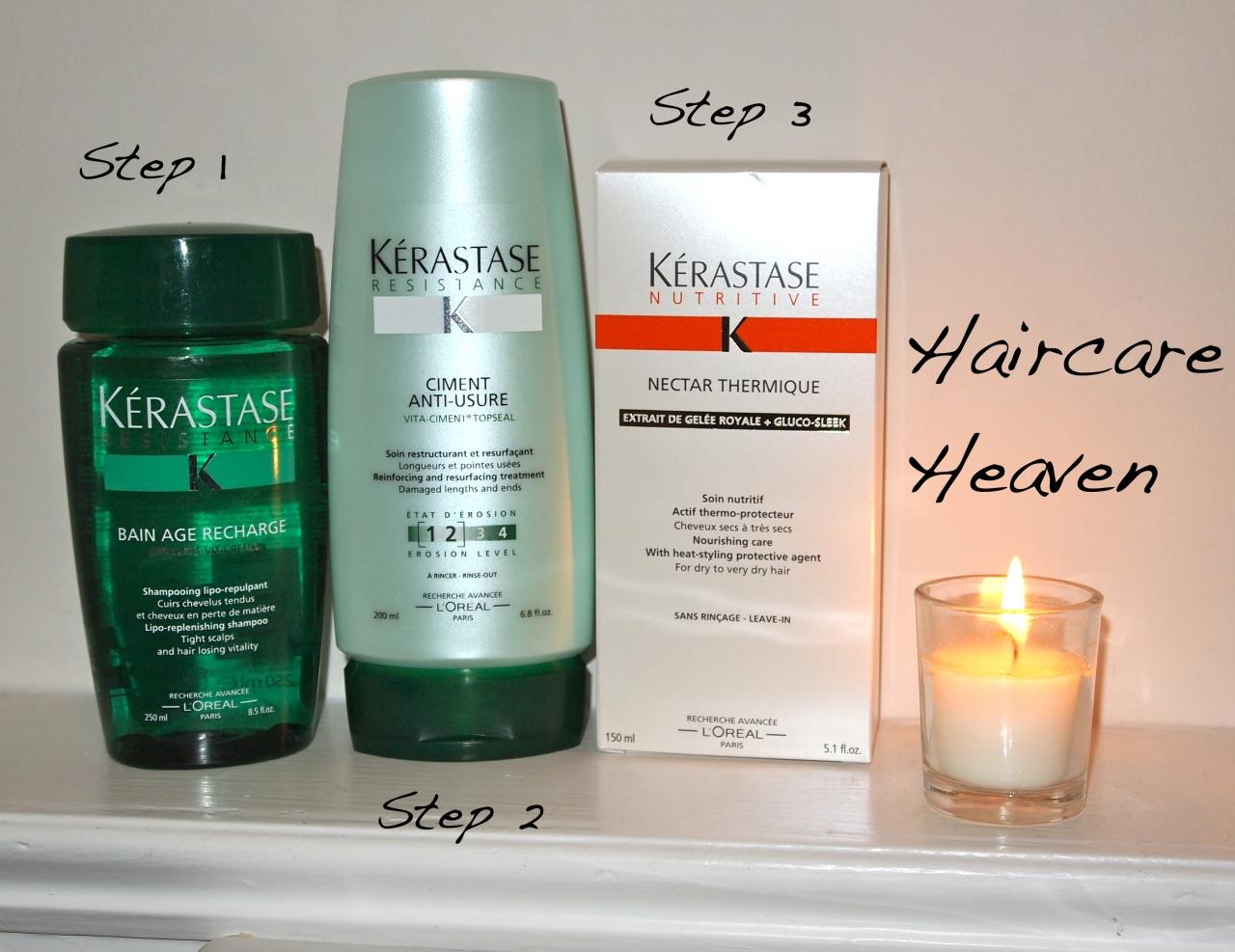 * kerastase age recharge shampoo £15.90, kerastase ciment anti-usure conditioner £18.90, kerastase nectar thermique £18.90 *