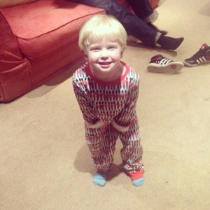 * someone loves his new pjs *